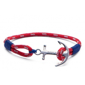 Tom Hope bracelet with anchor and red and blue cord-Arctic Blue