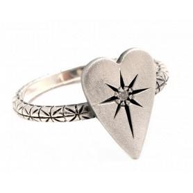 Acht große Herz Schmuck Ring in Silber mit Diamant Eis