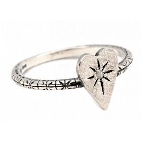 Acht kleine Herz Schmuck Ring in Silber mit Diamant Eis