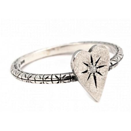 risparmia fino al 60% colore veloce godere del prezzo più basso Anello Otto Gioielli cuore piccolo in argento e diamante ice