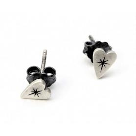 Kleine Herzen Schmuck Ohrringe Silber satin und brüniert Otto