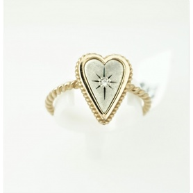 Anello Otto Gioielli cuore grande in oro e argento con diamante
