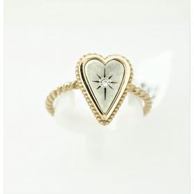 Acht große Herz Schmuck in Silber und gold Ring mit Diamant