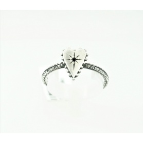Small heart Jewelry ring studded with silver and Eight black diamond
