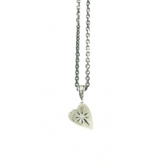 Small heart Jewelry in silver and diamond necklace Eight ice