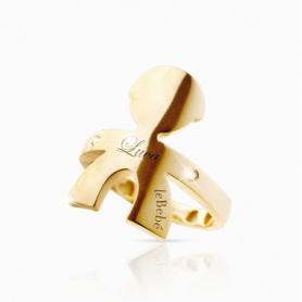 Die Gold- und Diamant-Ring jungen umarmt Linie-LBB121