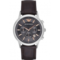 Emporio Armani men's watch grey Skin Chrono rose-indexes AR2513 Renato