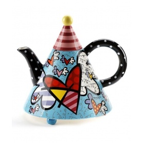 Romero Britto ceramic teapot decorated great Flying Heart-334410