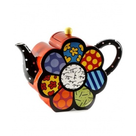 Romero Britto ceramic teapot decorated large Flower-334409