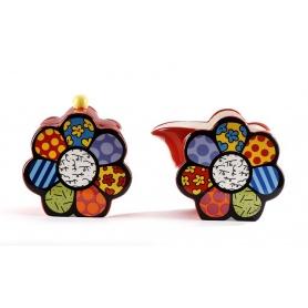Zuckerdose und Cremira Romero Britto Blume verziert Keramik-334409