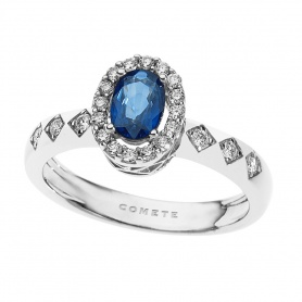 Gold sapphire ring Jewelry Grand Tour of Comets and diamonds-ANB1965