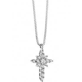 Collana Croce Comete Gioielli Fiocco di Luce in Oro e Brillanti - GLB782