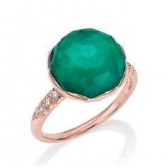 Mimi rhinestone ring gold with Beautiful crisatllo, labradorite and green diamonds.