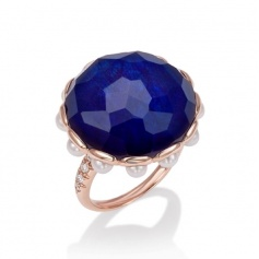 Beautiful gold ring with blue Sapphire, Mimi crisatllo, pearls and diamonds