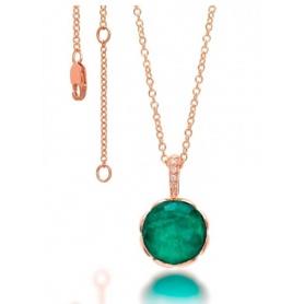 Collana Mimì Belle in oro con crisatllo di rocca, labradorite verde e diamanti.