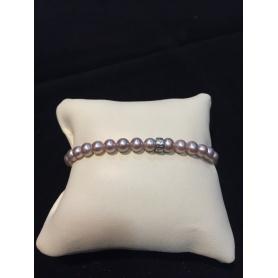 Bracciale Mimì elastica con perle piccole viola scuro e argento