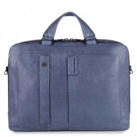 Aktentasche mit zwei Griffe Piquadro Laptop blaue Linie P15PLUS