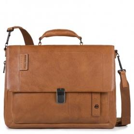 Piquadro line P15PLUS leather expandable folder