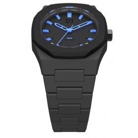 Black Neon Clock blaue Linie D1 Mailand achteckigen Ring Indizes