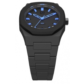 Black Neon Clock blue line D1 Milan octagonal ring indices