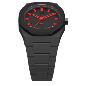 Black with red Neon Clock D1 Milan line octagonal ring indices