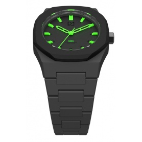 Clock Neon Green with black line D1 Milan octagonal ring indices