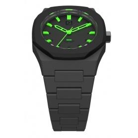 Uhr-Neon-grün mit schwarzen Linie D1 Mailand achteckigen Ring Indizes