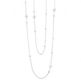 Collana lunga Salvini Just a Pearl in argento con Perle, Cuori e diamante