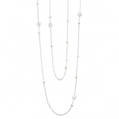 Salvini Just Silver Pearl Necklace with Pearls, Hearts and Diamonds