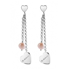Salvini Earrings with Pearl and Heart Silver and Diamond Pendant.