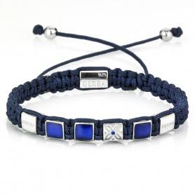 Damen Tassel Armband mit blauen und silbernen Lanyard - GS05