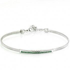 Bracciale Gerba semirigido in argento con pietre verdi - 3131GREEN