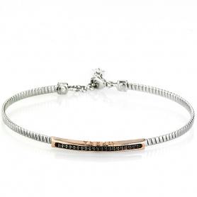 Halbstarre silberne und schwarze Steine Armband - 3131BLACK