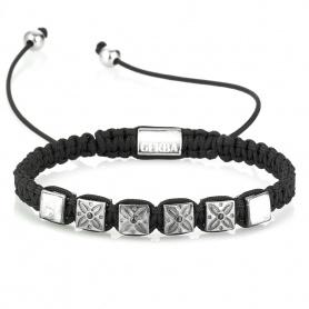 Damen Halskette mit schwarzem und silbernem Lanyard - GS02