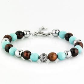 Tungsten multicolor elastic women's elastic bracelet - TURQUOISE BROWN