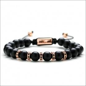 Mens black tassel bracelet with black lanyard - MATTE ROSE '