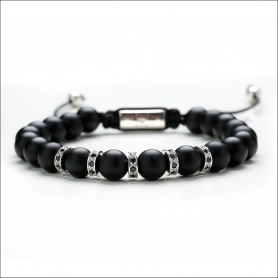 Tassel bracelet black matte black man - MATTE SILVER