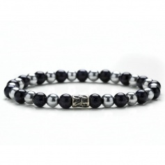Black and gray elastic black men's tassel bracelet - DANIEL