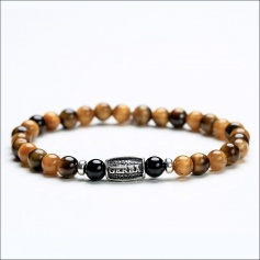 Tiger man's tire bracelet tiger and onyx eye - TIGER EYE