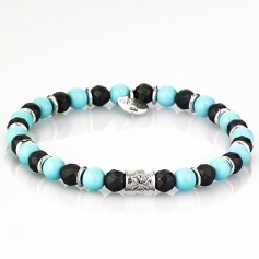 Turquoise and black elastic women's Tassel bracelet - JIMMI