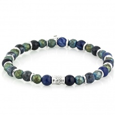 Tungsten bracelet blue and green elastic woman - ALEX