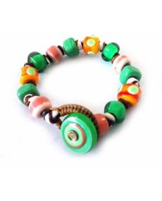Bracciale Moi con perle in vetro verde e arancio Jump unisex