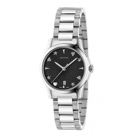 Gucci Watch G-Timeless Small Guilloche Black Steel - YA126573