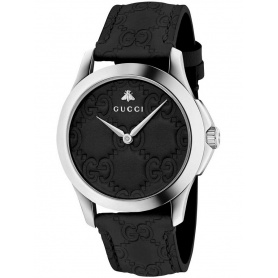 Gucci timeless woman timepiece dial and black leather strap