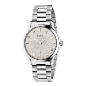 Gucci Watch G-Timeless Guilloche Silver Steel Icons - YA1264028