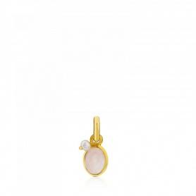 Tous Anhänger in goldenem Silber und rosa Quartz - 712314550
