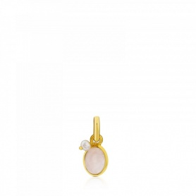 Tous Pendant in Golden Silver and Pink Quartz - 712314550