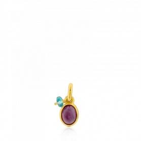 Ciondolo Tous rubino ed argento dorato - 712314530