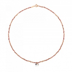 Tous Camille necklace in salmon colored stones - 712162550