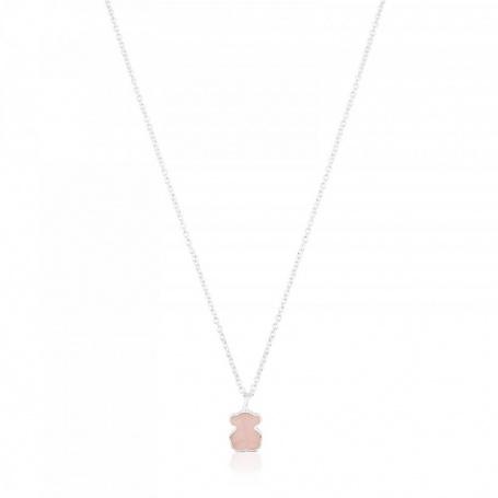 Semi Precious Stone Jewelry Rose Quartz Bear Pendant Necklace Silver Pendant
